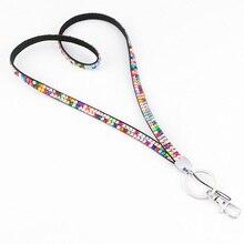 Rhinestone Crystal Bling Custom Lanyard ID Badge Cellphone Key Holder Ring