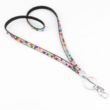 Rhinestone Crystal Bling Custom Lanyard & ID Badge Cellphone Key Holder Ring(China)