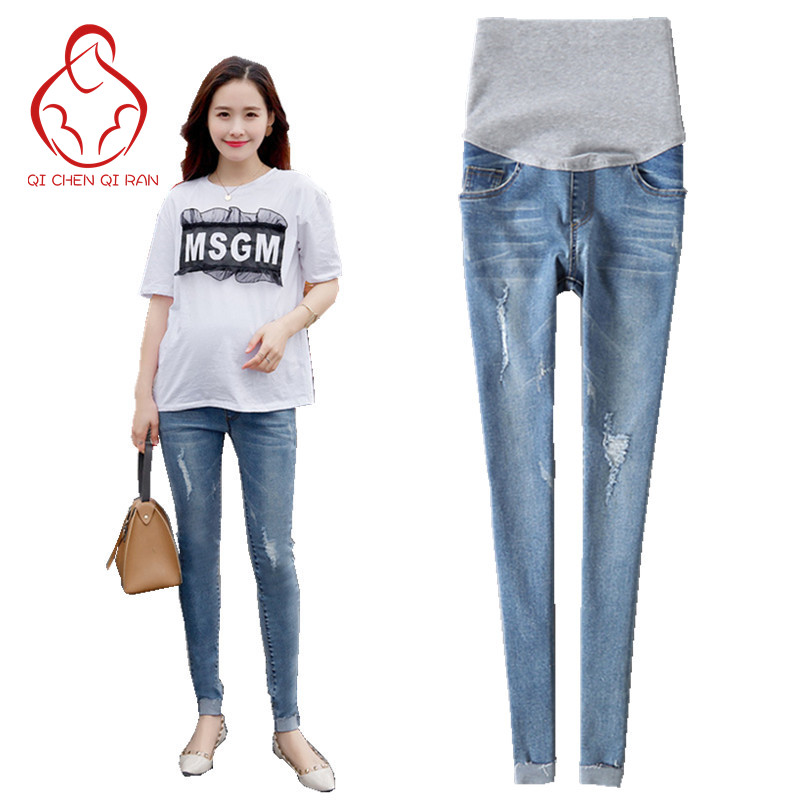 New hot selling jeans Pregnant women Pregnancy clothing Thin section Elastic belly Maternity pants Maternity jeans