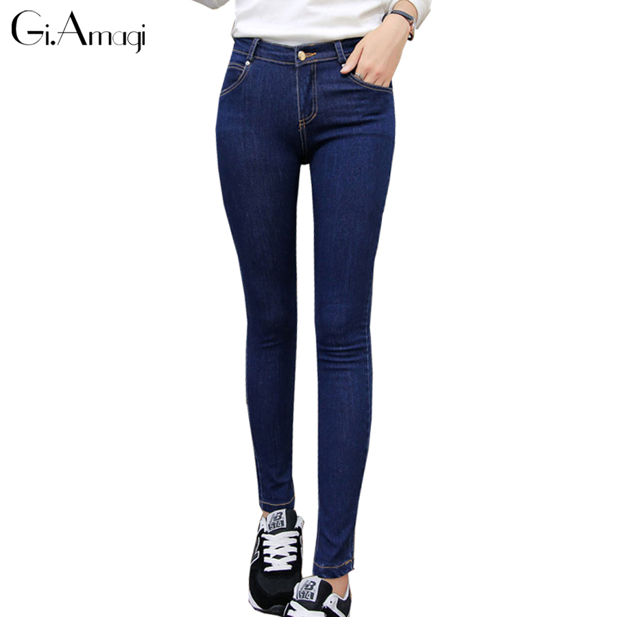 Large Size Stretch High waist Jeans Female Denim Pants Thin Trousers Femme Slim  Stretch Fleece Pencil Pants Skinny Jeans Women winter high waist jeans women stretch trousers plus size denim blue pencil pants female jeans femme skinny jeans woman c2512