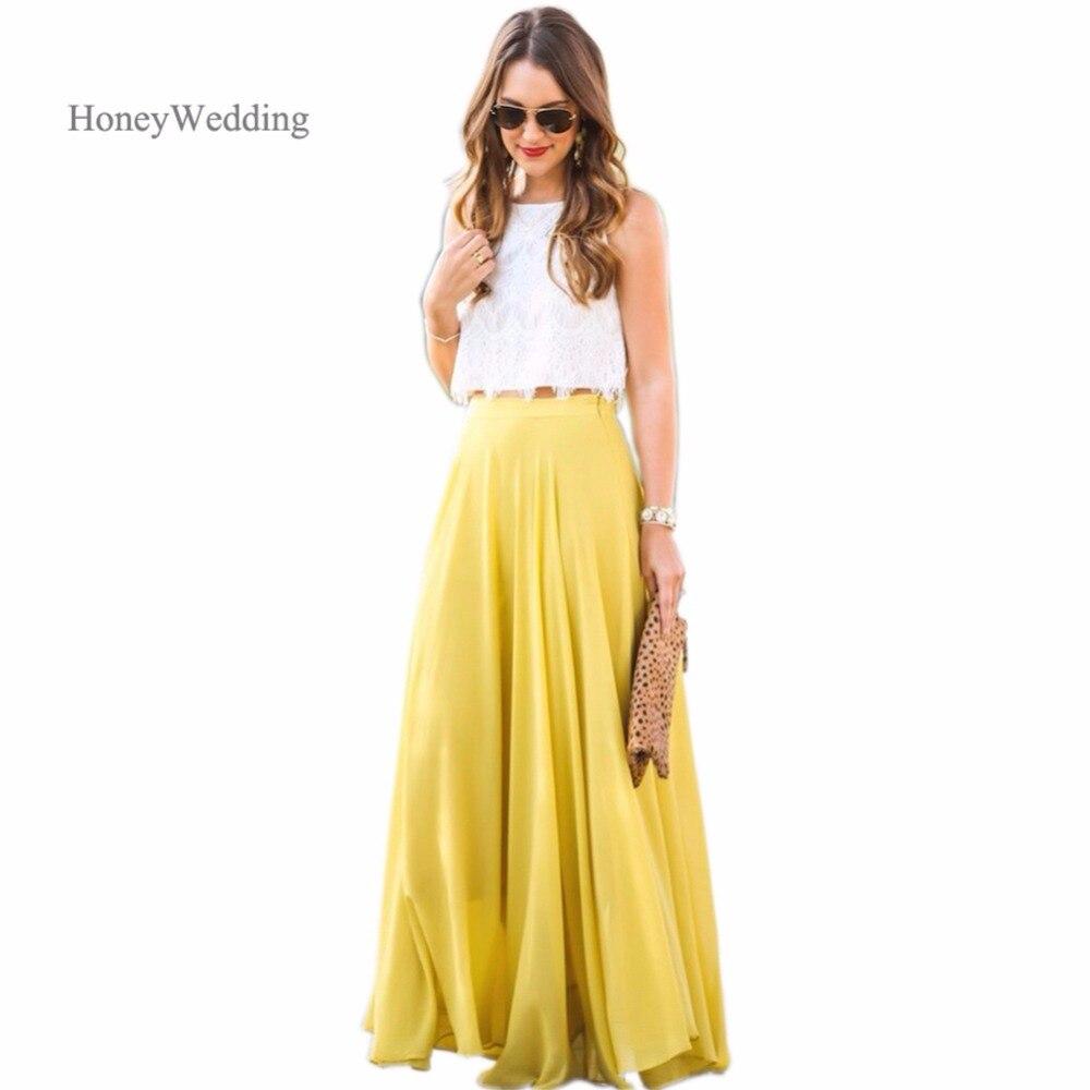 Summer Style Chiffon Party Skirt A Line Floor Length Maxi Skirt ... 7dd957f384bc