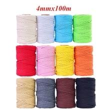 4mm x 100m 100% cabo de algodão corda colorida bege trançado artesanato macrame corda diy casamento casa têxtil fonte decorativa