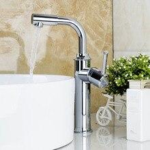 Современные нежный простой смеситель Chrome полированной одной ручкой на одно отверстие горячая холодная вода видных смеситель