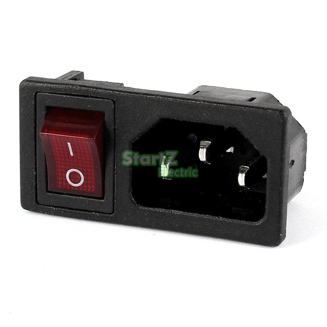 Panel IEC320 C14 Inlet Power Socket On/Off SPST Red Rocker Switch AC 250V 10A high quality 10pcs green light illuminated 20mm mounting holes on off spst 3pin round rocker switch 6a 250v 10a 125v ac
