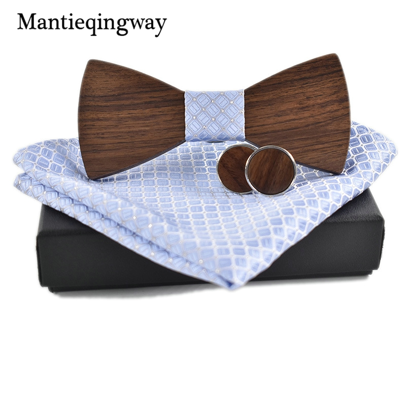 Mantieqingway Personality Wood Bow Ties Hanky Set For Mens Wedding Suits Business Wooden Bowtie Hadkerchief Cufflinks Set