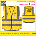 Custom company uniform printing logo Multi pockets Safety reflectivehi vis vest golden work vest  free shipping