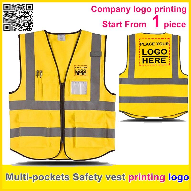 be91bd8aa7c SPARDWEAR personalizado empresa uniforme impresión logo Multi bolsillos  seguridad reflectivehi vis chaleco dorado trabajo chaleco envío gratis
