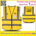 Uniforme de la empresa insignia de la impresión personalizada de Múltiples bolsillos reflectivehi Seguridad visibilidad chaleco de trabajo chaleco de oro envío libre