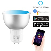 Smart Wifi spotlight GU5.3 Led Bulb RGBW Dimmable Light 5W WiFi Smart LED Bulb Voice control by Alexa Google Assistant 85-265V