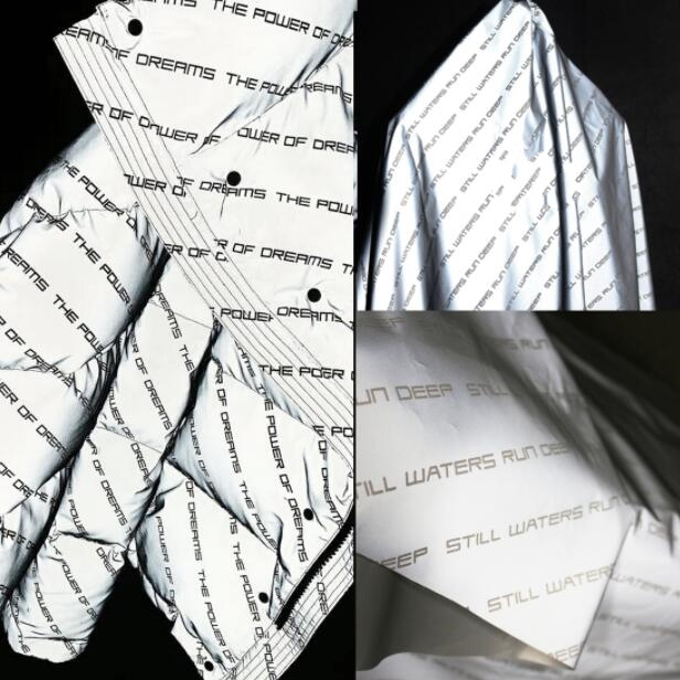 Creative Fashion Letter Reflective Night Vision Chemical Fiber Fabric Bright Silver laser Dress Rain proof Windshield Cloth C186 in Fabric from Home Garden