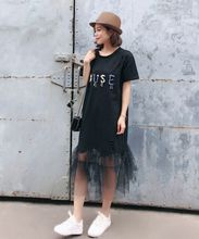 Women Mesh Patchwork Sequined Casual Long Dress