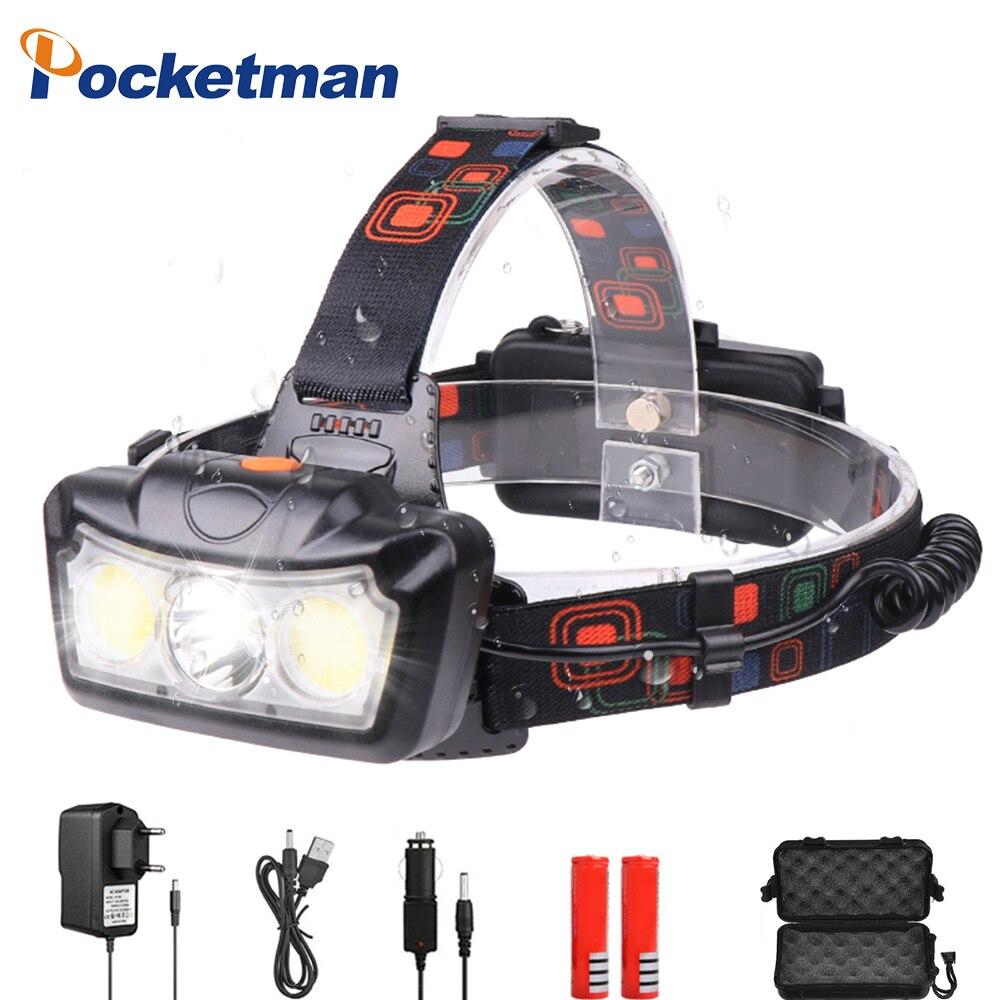 35000LM Portable Headlamp T6+2*COB LED Headlight Head Lamp Flashlight Torch Lanterna Use  2*18650 Battery For Camping Fishing