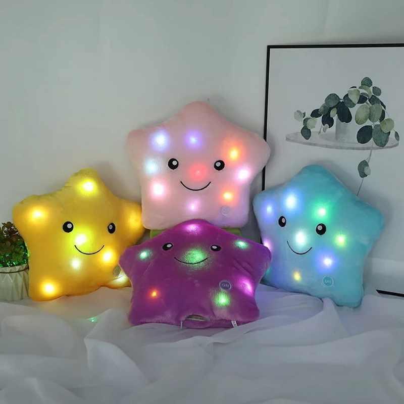 Светодиодная мягкая плюшевая подушка люминесцентные игрушки 34 см Красочные Звезды Любовь Форма Дети взрослому подарок на день рождения