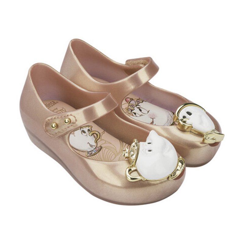 Mini melissa 2017 más nuevo brasileño de la bella y la bestia niños zapatos  sandalias sandalias de la jalea de rosa de té de la tetera belleza bestia