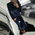 Women's Sets autumn winter casual gray  black pink wine red blue  Polyester long sleeve O neck elastic waist long pants