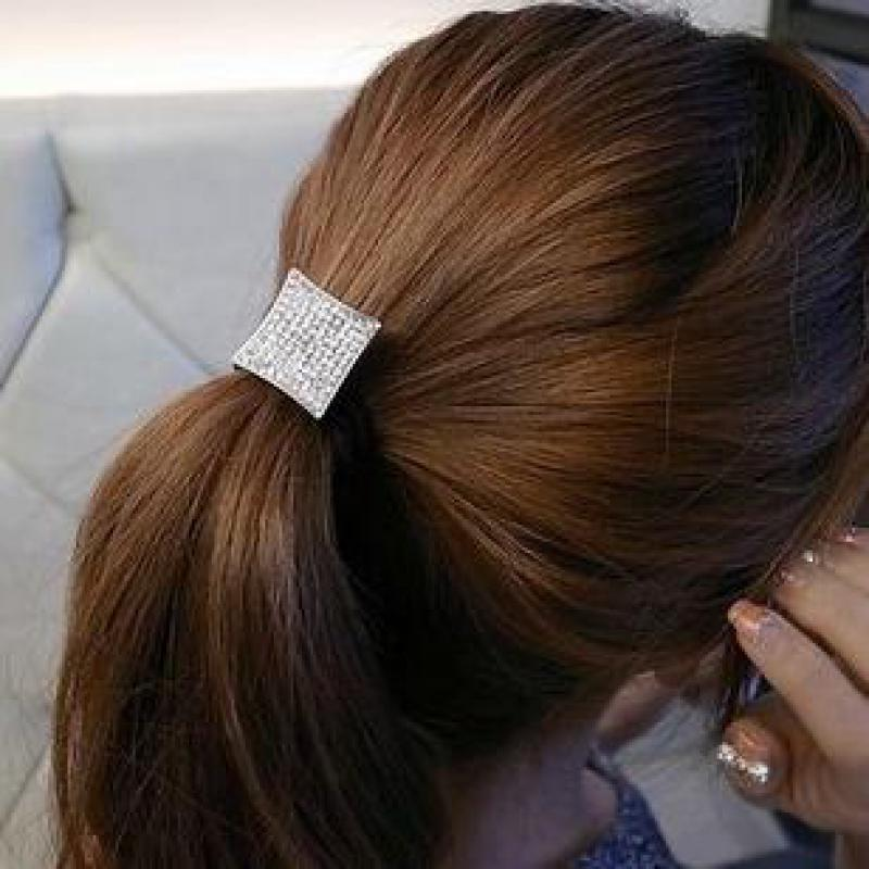 1pc Fashion Square Crystal Ponytail Holder Rhinestone Elastic Hair Rope Hairband New Wedding Hairband Accessories Wedding Hairband Hair Wedding Accessorieswedding Hair Accessories Aliexpress
