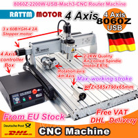 4 Axis 2200W 8060Z USB Mach3 2.2kw CNC Router Engraver/Engraving Drilling and Cutting Milling Mahcine 220VAC