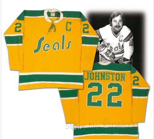 80833e98e California Golden Seals  22 Joey Johnston Ice Hockey Jersey Embroidery  Stitched Customize any number and name Jerseys