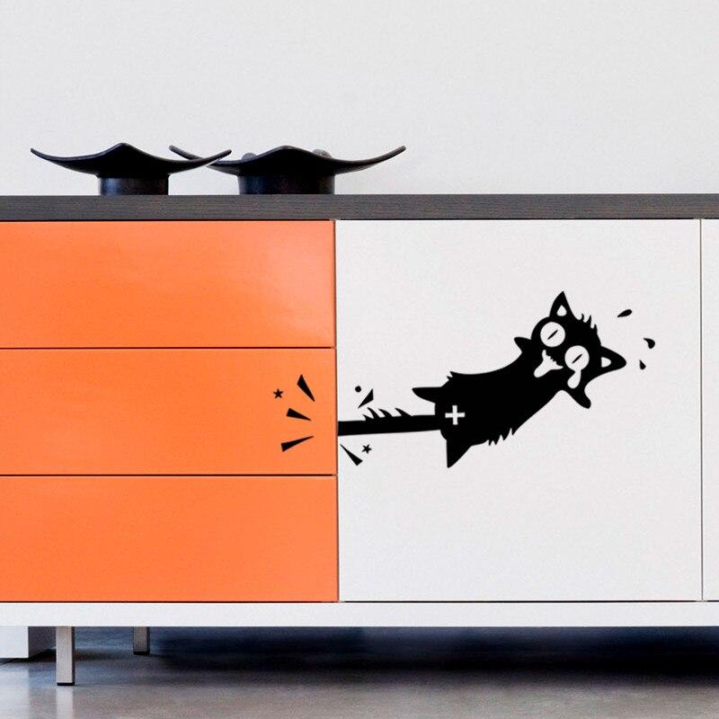 Funny Cartoon Black Cat Wall Sticker Kitchen Cabinet Car Door Wall Decals Furniture Glass Stickers Decal kids room Decoration