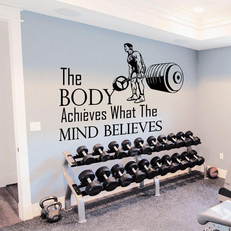 Gym Sticker Fitness Decal Plakát na stěnu Vinylové samolepky Gym Sticker