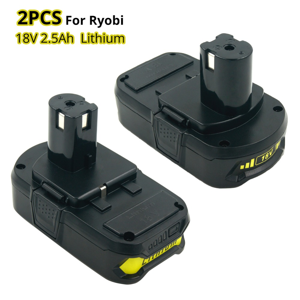 2PCS New 18V 2500mah RB18L25 Lithium Ion Replacement Battery For Ryobi Power Tools Cordless Drill Replace P103 P104 P105 P108 цена
