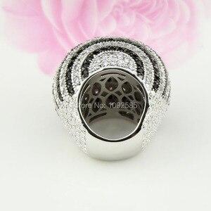 Image 4 - LYCOON ברמה הכי חדש לבן ושחור CZ פס טבעות כסף מצופה גדול טבעות יוקרה נשים מעוקב zirconia טבעת כדור צורה