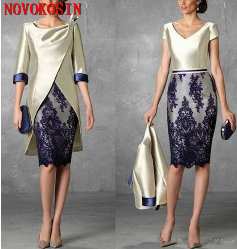 2019 Two Pieces Short Mother Of The Bride Dresses With Jacket Half Sleeves Lace Mother Groom Dresses Sheath Evening Gowns