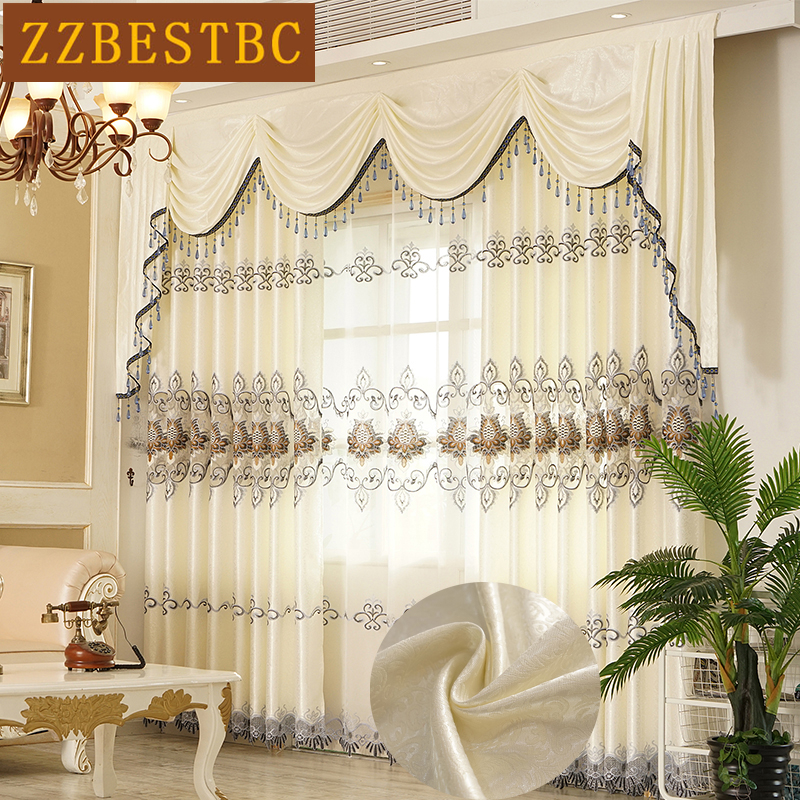 US $3.32 50% OFF|European and American luxury White and cream color villa  embroidered curtains for living room windows curtain bedroom/kitchen-in ...