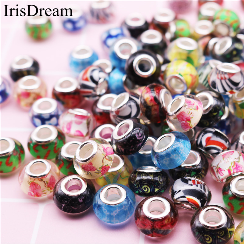 10 Pcs Lot Big Hole Mixed Color 14*8MM Spacer Bead Charms Plastic Resin Glass Beads For DIY Jewelry Making Fit Pandora Bracelet