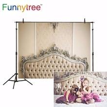 Funnytree Headboard photography backdrops white damask newborn family bedhead photo studio background photocall photophone
