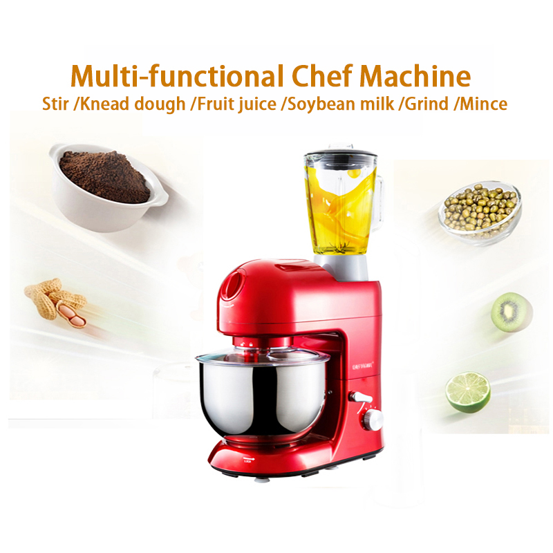 1pc 220V Home multi-functional chef machine 5L large-capacity mixing bowl  stir/dough kneading/fruit juice/grind/mince machine functional capacity of mango leave extracts