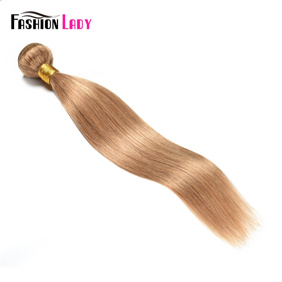 Fashion Lady Pre-colored Indian Hair Extensions Straight Hair Color 27 Hair Bundles 1 Piece Hair Weaving Non-remy