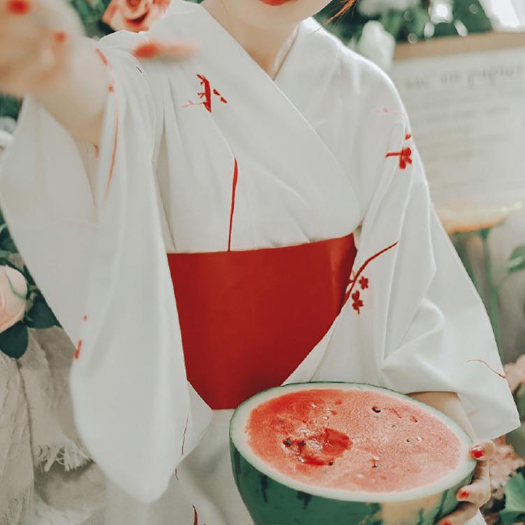 Kimono Cardigan Sakura Girl Traditional Japanese Costume Haori Yukata Dress Obi Suit Women Gesia Cosplay Costume Vintage Party 1