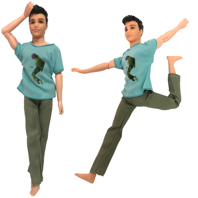 NK 5 Set/Lot Cute Kawaii Baby Toys Beautiful Casual Suits Clothes Tops Pants For Barbie Boy Friend Ken Dolls For Barbie Doll DZ