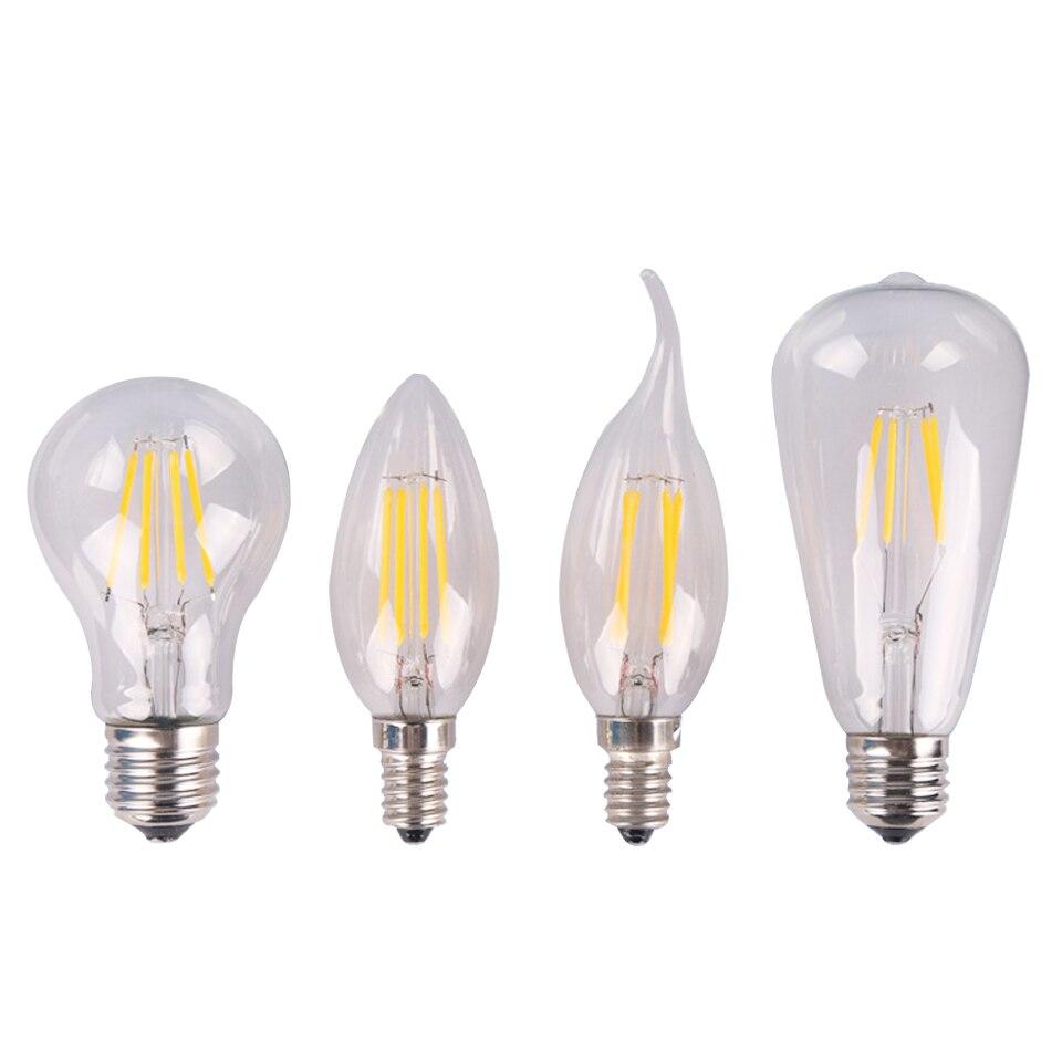 E27 E14 античный ретро Edision светодиодные лампы 4 Вт 6 Вт C35 A60 ST64 винтажные светодиодные лампы накаливания AC220V стекловолокно лампы