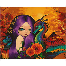 Cartoon girl DIY Diamond Painting Dargon Beautiful embroidery full round cartoon painting Mosaic