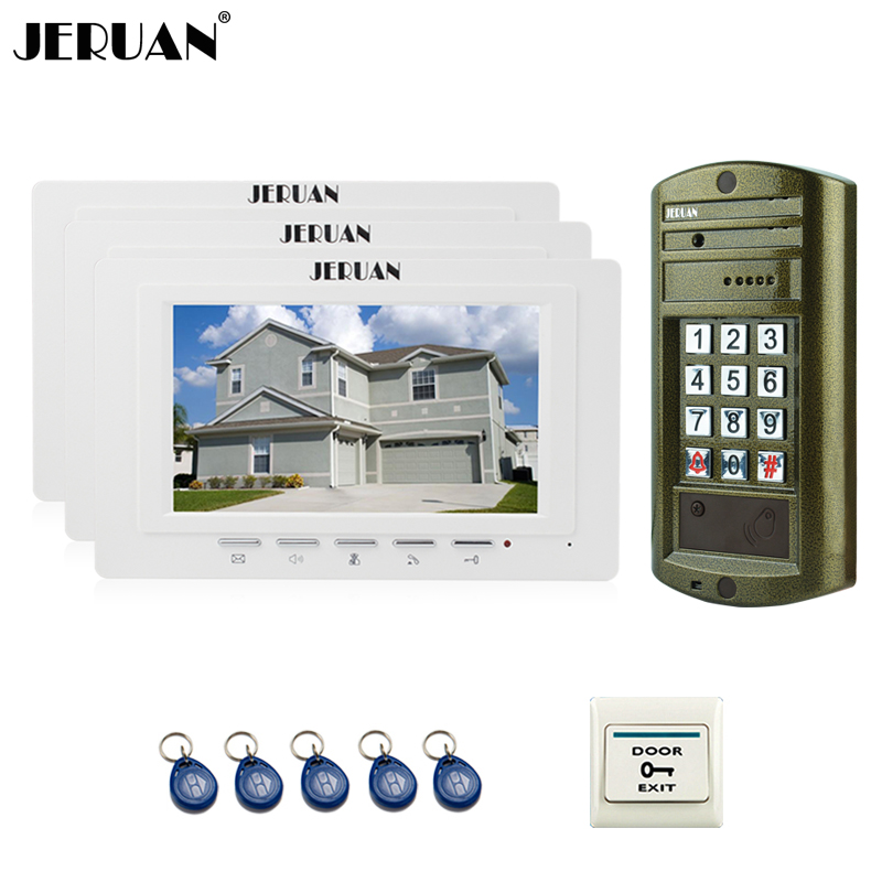 JERUAN 7 inch Video Door Phone Intercom System Kit 3 White Monitor+ NEW Metal Waterproof Access password HD Mini Camera 1V3 jeruan home 7 inch video door phone intercom system kit new metal waterproof access password keypad hd mini camera 2 monitor