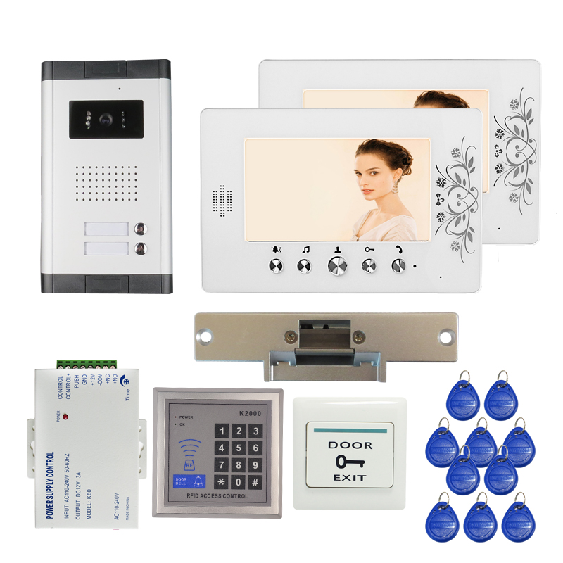 Apartment 7 Video Intercom Door Phone RFID Entry Kit + 2 Monitors + 1 Outdoor Camera for 2 Family + Strike Lock FREE SHIPPING free shipping new 7 video door phone intercom system 2 white monitors 1 outdoor bell camera for 2 household apartment family