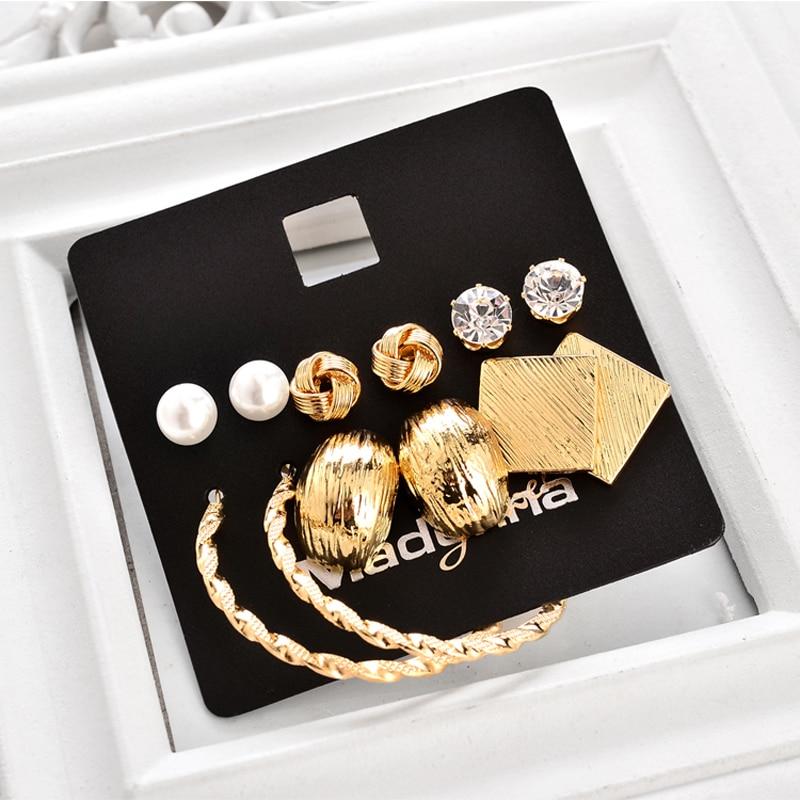 Marte & Joven Neue Mode 6 paar Ohrring Sets Gold Farbe Legierung - Modeschmuck - Foto 3