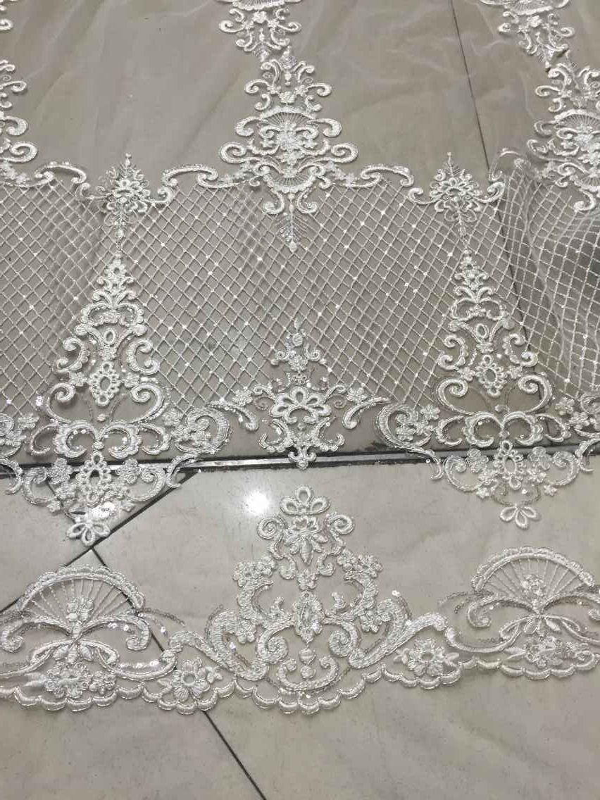 Free Shipping New Organza Embroidery Lace Fabric White Wedding Lace