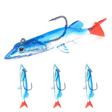 цена 3Pcs/lot Artificial Bass Wobblers Tail Soft Bait Fishing Lures 75mm 6.6g Sea Fishing Pesca Jigging Smell Bait Lure For River онлайн в 2017 году