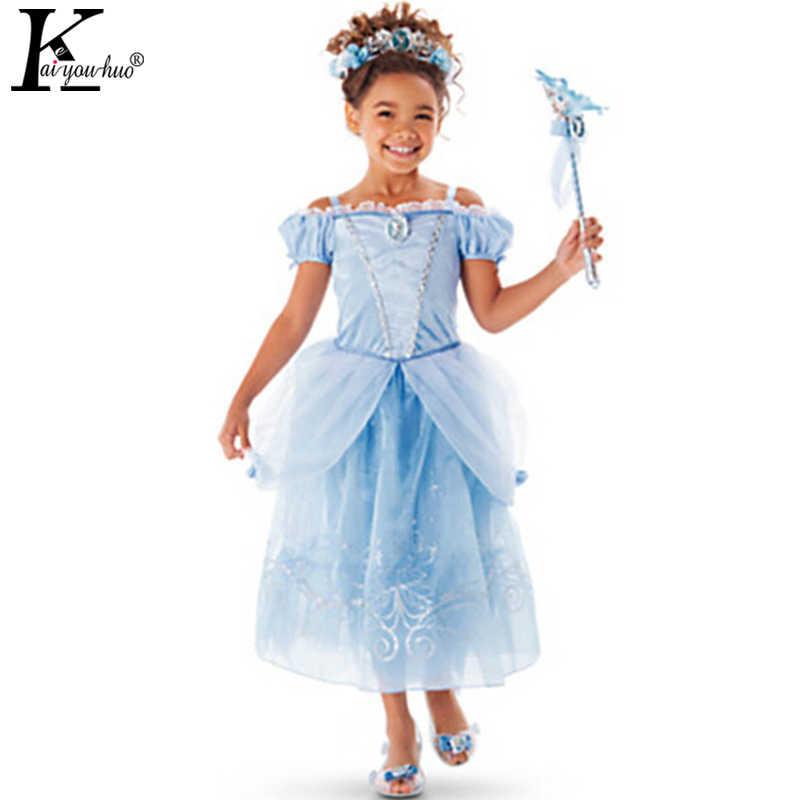 Рождественское платье для детей, платье принцессы Белоснежки, детский костюм Рапунцель, Авроры, праздничная одежда для девочек, летнее платье Золушки
