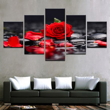 Canvas Paintings Home Decor Living Room Wall Art 5 Pieces Red Rose Flowers Pictures Modular Prints Stone Petal Poster Framework(China)