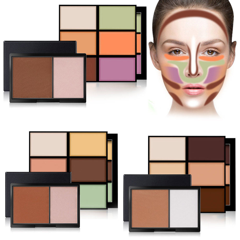 Magical Halo Makeup Cosmetics Set 6 Colors Concealer + Double Color Stereo Bronzing Powder HS11