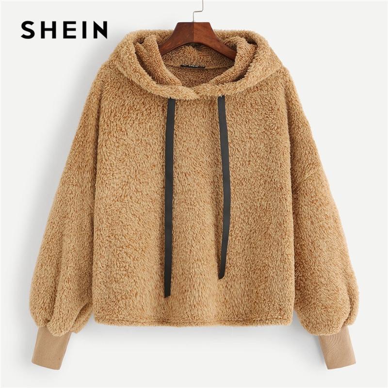 SHEIN Camel Plain Faux Fur Fluffy Teddy Hoodie Pullovers Casual Drawstring Preppy Sweatshirt Women Autumn Minimalist Sweatshirts