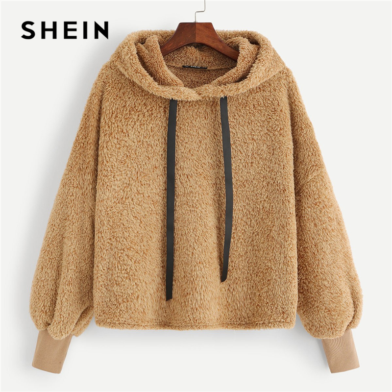 SHEIN Kamel Plain Faux Fur Fluffy Teddy Hoodie Pullover Casual Kordelzug Preppy Sweatshirt Frauen Herbst Minimalistischen Sweatshirts