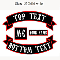 4PCS 330MM wide fabric badge Embroidered Rocker Iron On or Sew on Patch Jacket Biker tactical Patches for clothing