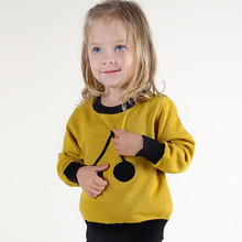 New 2016 Spring Girl Boys Sweater Baby Girls & Boy sweater Kids Boutique Knitted Wool Cartoon Cherry sweater