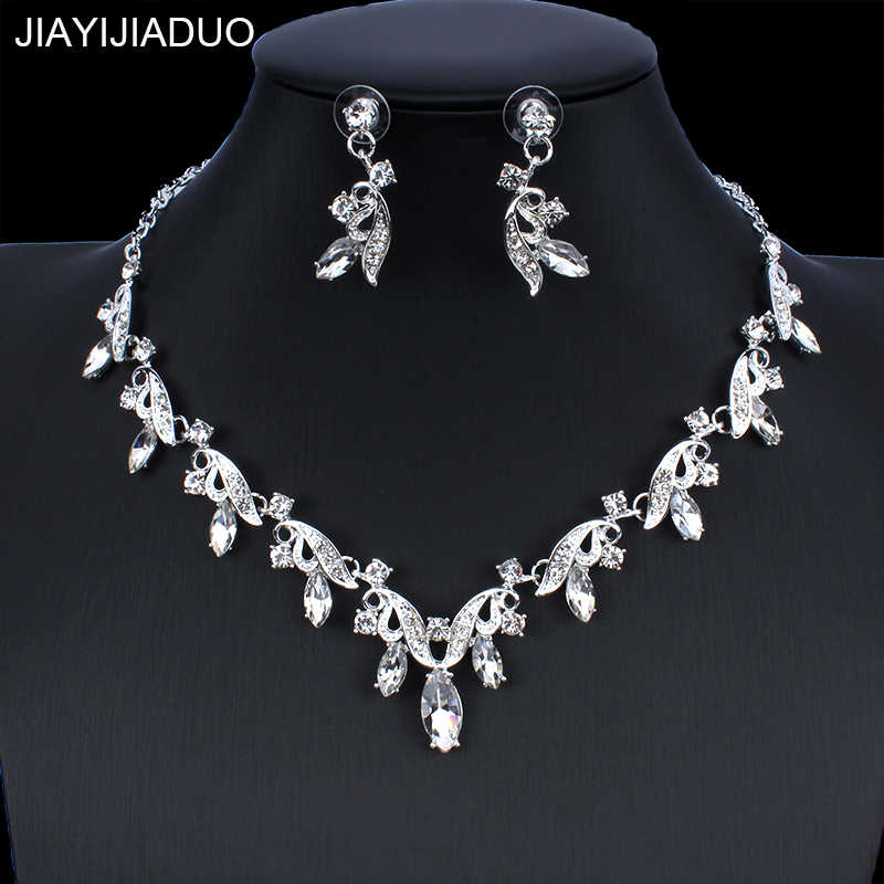 jiayijiaduo Gold/Silver Color Jewelry Set for Women's Wedding Gown Jewelry Accessories Crystal Necklace Earrings dropshipping