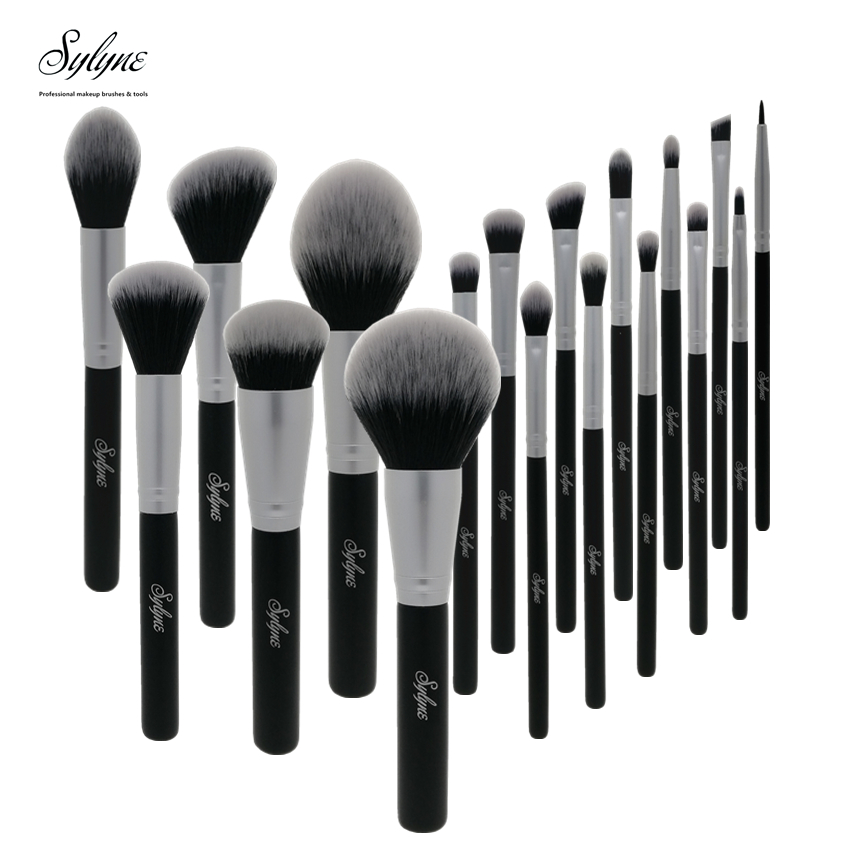 Sylyne 18pcs makeup brushes professional makeup brush set Synthetic Hair face & eyes black make up brushes set kit tools.(China)